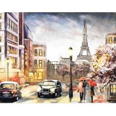 Вышивка лентами Парижским вечером LG142 40х50 тм Цветной
