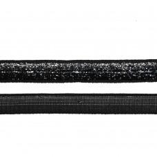 Лента бархатная TBY.LB10SLV.03 нейлон шир.10мм цв.черный-серебро уп.30м