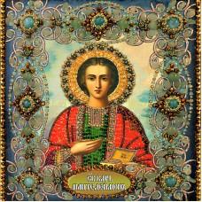 Набор для вышивания хрустальными бусинами ОБРАЗА В КАМЕНЬЯХ  77-Ц-06 Святой Пантелеймон Целитель 16,5х18,5 см