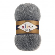 Пряжа для вязания Ализе Angora Real 40 (40% шерсть, 60% акрил) 5х100г/480м цв.182 средне-серый