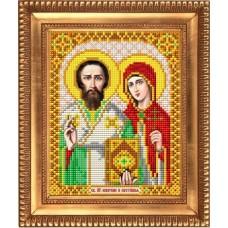 Рисунок на ткани бисером БЛАГОВЕСТ И-5068 Куприян и Устинья 13,5х17 см
