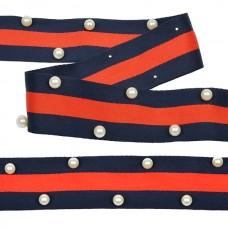 Тесьма-стропа TBY  Лампас с бусинами PB9 шир.40мм цв.синий/красный уп.13.71м