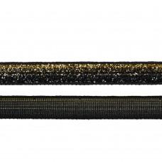 Лента бархатная TBY.LB10GLD.08 нейлон шир.10мм цв.черный-золото уп.30м