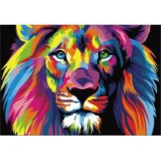 Картины по номерам Цветной MG2034 Радужный лев 40х50 см