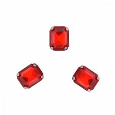 Стразы пришивные в цапах стекло TBY MS.24.R цв.красный 6х8 мм, уп. 50шт