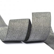 Тесьма киперная металлизированная 25 мм полиэстер TBYT19 цв.S306 т.серый уп.22,85м