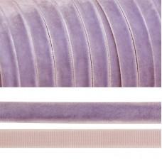 Лента бархатная TBY.LB1073 нейлон шир.10мм цв.сиреневый уп.20м