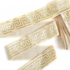 Лента отделочная жаккардовая TBY.1905-3 шир.30 мм цв.шелковое золото  уп.8,2 м