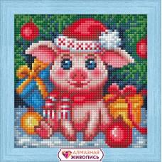 Набор для изготовления картин АЛМАЗНАЯ ЖИВОПИСЬ АЖ.1675 Новогодняя свинка 15х15 см