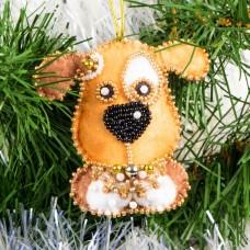 Набор для шитья и вышивания сувенир МП-8438 Новогодний щенок 7,5х7,5 см