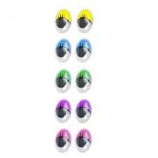 Глаза овальные с ресничками TBY 14х18мм МИКС 6 уп.50шт