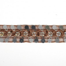 Тесьма с пайетками TBY TH249 шир.20мм цв.032 коричневый уп.18,28м