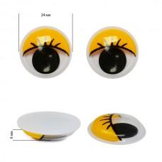 Глаза бегающие с ресницами TBY 24мм цв.желтый уп.10шт