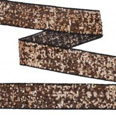 Тесьма с пайетками TBY на сетке  TDF05013 шир.50мм цв.черный+розовое золото уп.13,7м