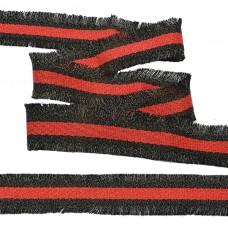 Тесьма TBY с бахромой TBYF05 шир.30мм цв.красный/черный уп.13,71м