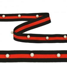 Тесьма-стропа TBY  Лампас с бусинами PB5 шир.25мм цв.черный/красный уп.13.71м