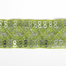 Тесьма с пайетками TBY TH216 шир.25мм цв.131 зеленый уп.18,28м