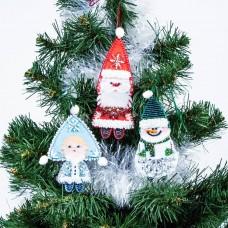 Набор для шитья и вышивания сувенир МП-8435 Новогодняя банда 13х15, 11х15, 12х13 см