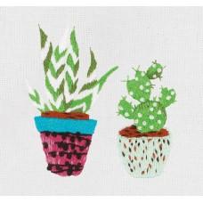 Набор для вышивания PANNA Живая картина  JK-2208 Суккулент и кактус 3х6см