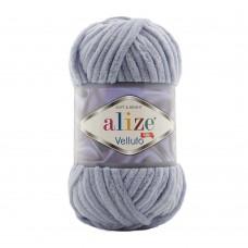 Пряжа для вязания Ализе Velluto (100% микрополиэстер) 5х100г/68м цв.087 угольно-серый