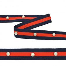 Тесьма-стропа TBY  Лампас с бусинами PB6 шир.25мм цв.синий/красный уп.13.71м