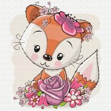 Картины по номерам Molly KH0839 Лисенок в цветах 20х20 см