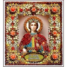Набор для вышивания хрустальными бусинами ОБРАЗА В КАМЕНЬЯХ  77-И-10 Святая Екатерина 16,5х14,5 см