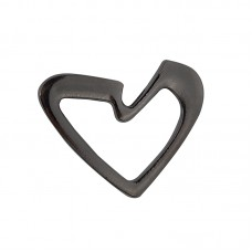 Брошь металл Сердце TBY.91753 38х31мм цв. черный никель уп. 5шт