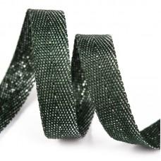 Тесьма киперная металлизированная 13 мм 90370 цв.т.зеленый с серебром уп.50м
