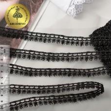 Кружево гипюр КМС-1066 шир.13мм цв.черный уп.13,71м
