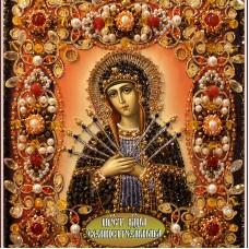Набор для вышивания хрустальными бусинами ОБРАЗА В КАМЕНЬЯХ  77-Ц-14 Богородица Семистрельная 16,5х18,5 см