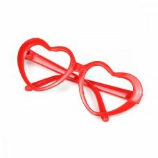 Очки без стекла TBY.53733 цв.красный 7см, сердце пластик уп.10шт