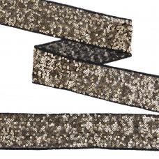 Тесьма с пайетками TBY на сетке  TDF05011 шир.50мм цв.черный+золото уп.13,7м