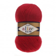 Пряжа для вязания Ализе Angora Real 40 (40% шерсть, 60% акрил) 5х100г/480м цв.056 красный