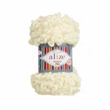 Пряжа для вязания Ализе Puffy Fine (100% микрополиэстер) 5х100г/14м цв.062 св.молочный
