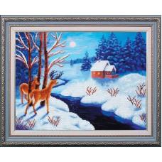 Набор для вышивания бисером МК- Б206 Морозный вечер 39х29 см