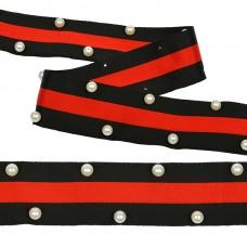 Тесьма-стропа TBY  Лампас с бусинами PB7 шир.40мм цв.черный/красный уп.13.71м
