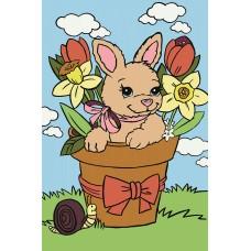 Набор Колор Кит картина по номерам КК.UE005 Кролик в вазе 20х30