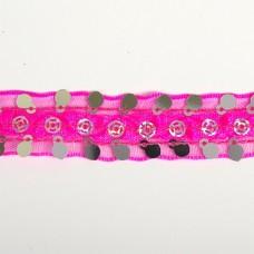 Тесьма с пайетками TBY TH249 шир.20мм цв.014 розовый уп.18,28м