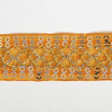 Тесьма с пайетками TBY TH216 шир.25мм цв.017 оранжевый уп.18,28м