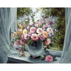 Алмазная мозаика на холсте ГРАННИ Ag670 Цветы на подоконнике 48х38см