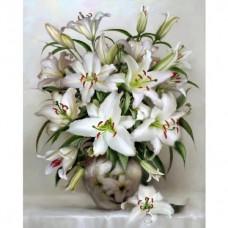 Картины по номерам Molly KH0821 Бузин. Букет белых лилий (27 цветов) 40х50 см