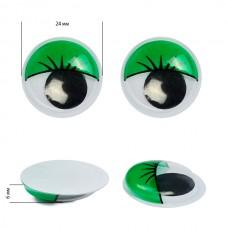 Глаза бегающие с ресницами TBY 24мм цв.зеленый уп.10шт