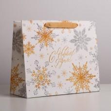 Пакет ламинированный горизонтальный Волшебные снежинки, ML 27x23x11,5 см4843419