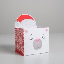 Коробка для мини-букетов С новым годом, миша, 12 х 17 х 10 см 5287576